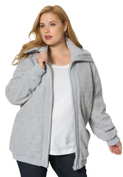 Textured Fleece Bomber Coat, HEATHER GREY