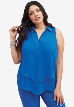 Felicity Sleeveless Shirt, LAPIS BLUE, hi-res