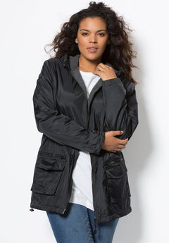 Hooded Nylon Jacket with Fleece Lining, BLACK