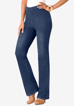 Bootcut Pull-On Stretch Jean, LIGHT STONEWASH SANDED