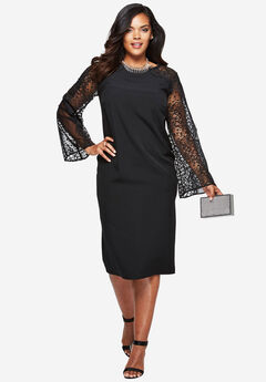 Lace Sheath Dress, BLACK, hi-res