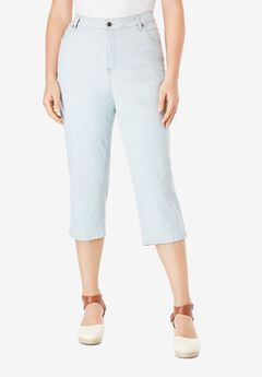 Denim Capri with Invisible Stretch® by Denim 24/7®, BLEACH WASH