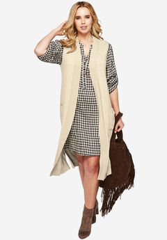 Henley Shirt Dress, OATMEAL BLACK CHECK, hi-res