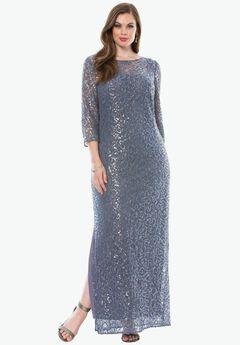 Illusion Sequin Dress by Alex Evenings, HEATHER, hi-res