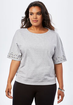 Pearl-Sleeve Sweatshirt,