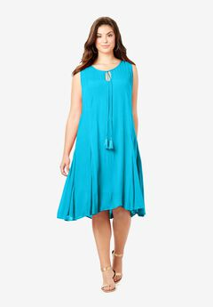 A-Line Crinkle Dress with Tassel Ties,