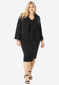 Ultimate Ponte Jacket Dress with Bell Sleeves, BLACK