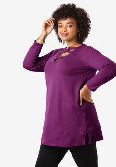 Crisscross Maxi Tunic Sweatshirt,