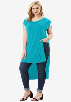 High-Slit Drape Ultra Tunic, VIBRANT TURQ, hi-res