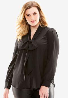 Long Sleeve Bow Blouse, BLACK, hi-res