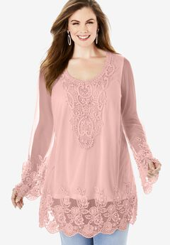 Mesh Embellished Tunic,