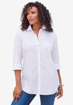 Three-Quarter Sleeve Kate Big Shirt, WHITE