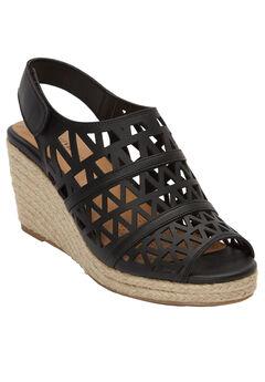 Karen Wedge Sandals by Comfortview®, BLACK, hi-res