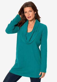 Thermal Knit Cowl Neck Tunic, GEMSTONE GREEN