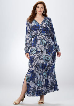Crinkle Maxi Dress, BLUE CABBAGE ROSE