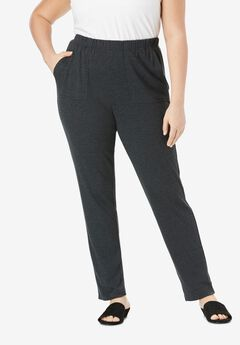 Ankle-Length Soft Knit Pant, HEATHER CHARCOAL