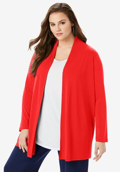 Ultra Smooth Long-Sleeve Cardigan, VIVID RED