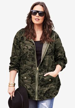 Hooded Anorak Jacket, OLIVE CAMO FLORAL