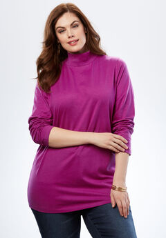 Mockneck Long Sleeve Ultimate Tee, RICH MAGENTA, hi-res