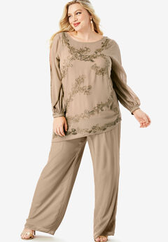 Beaded Illusion-Sleeve Top, SPARKLING CHAMPAGNE