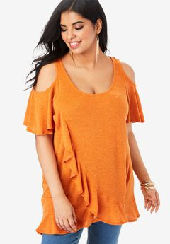 Cold-Shoulder Ruffle Tunic,