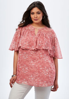 Flounce Crinkle Top, PINK PAINTED ANIMAL, hi-res
