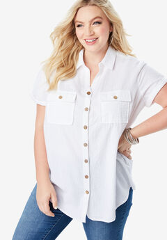 Seersucker Big Shirt, WHITE