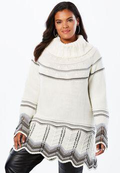 Chevron Border Pullover Sweater, GREY COMBO