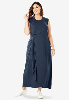 Side-Knot Maxi Dress with High-Low Hem,