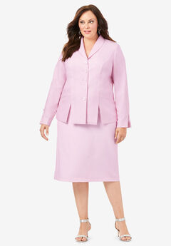 Two-Piece Skirt Suit with Shawl-Collar Jacket, RASPBERRY CREAM