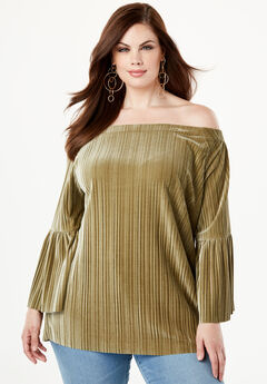 Pleated Velour Top with Off-The-Shoulder Neckline,