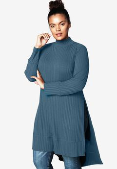 High-Low Ribbed Tunic, ANTIQUE BLUE, hi-res