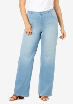 Wide-Leg Jean with Invisible Stretch® by Denim 24/7®, LIGHT STONEWASH