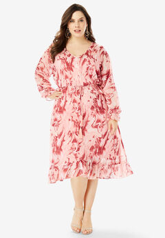 Ruffle Drawstring Dress with Tassels, CORAL MARBLE PRINT