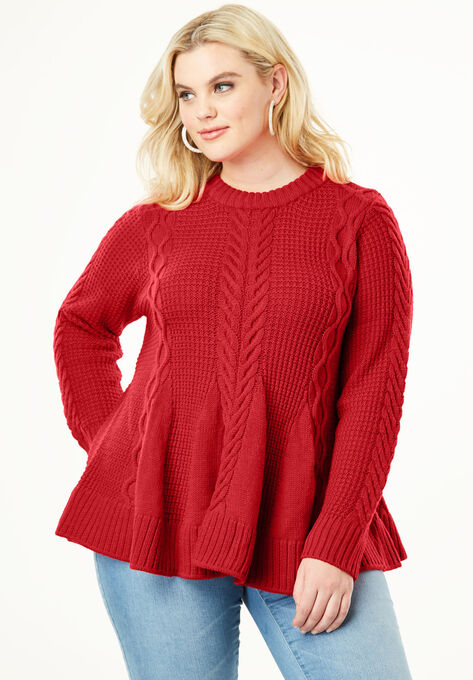 1d1c2078045 Cable Knit Fit   Flare Sweater