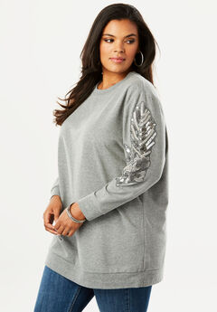 Embellished Sleeve Sweatshirt Tunic,