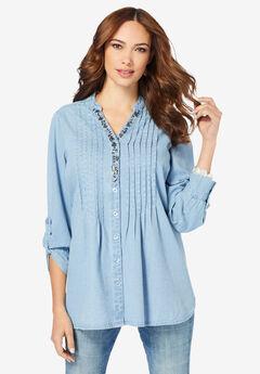 Jeweled Y-Neck Big Shirt,