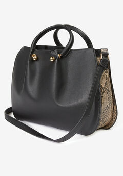 Faux Leather Satchel Handbag,