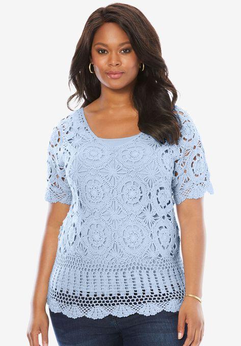 Crochet Sweater Plus Size Sweaters Roamans