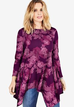 Handkerchief Hem Ultimate Tunic, DARK BERRY ROSES
