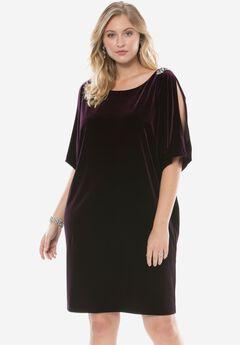 Scoopneck Velvet Dress by Alex Evenings, AUBERGINE, hi-res