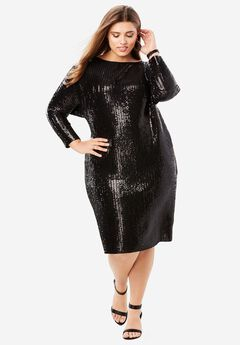 Pleated Sequin Dress with Raw-Edge Hem,