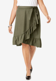 Faux Wrap Skirt with Ruffle Hem, DARK OLIVE GREEN
