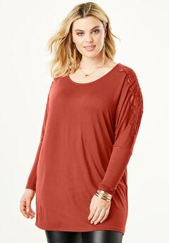 Lace Shoulder Drape Tunic,