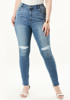 High-Rise Skinny Jean by Denim 24/7®, DISTRESSED