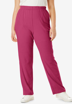 Straight-Leg Soft Knit Pant, VERY BERRY