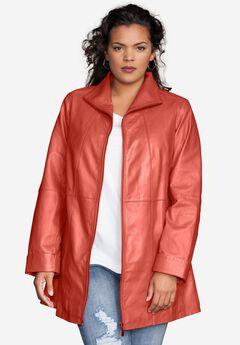 Leather A-line Jacket, PUMPKIN, hi-res