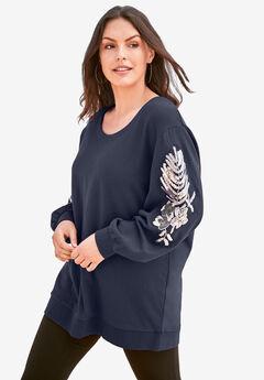 Embellished Sweatshirt Tunic, NAVY