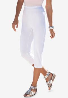 Essential Stretch Capri Legging, WHITE