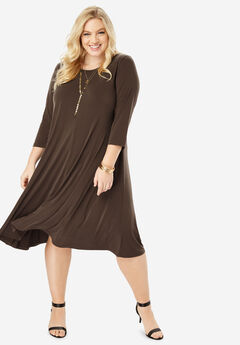 Three-Quarter-Sleeve Swing Dress,